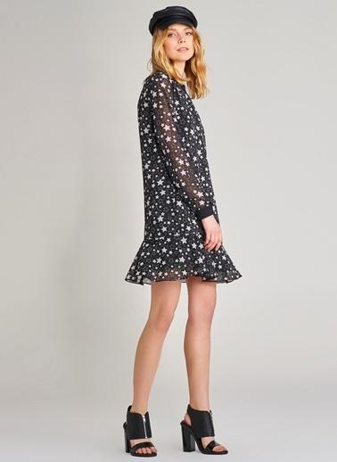 Agenda Yıldız Desenli Ribanalı Elbise Siyah